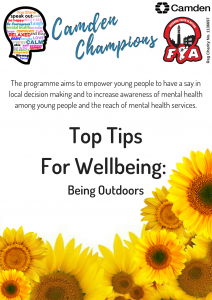 Tips for wellbeing - Outdoors leaflet front